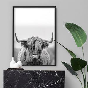 Highland Cow Portrait II B&W - Art Print, Stretched Canvas or Framed Canvas Wall Art, Shown inside a frame