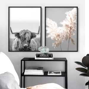 Highland Cow Portrait II B&W - Art Print, Stretched Canvas or Framed Canvas Wall Art, Shown framed in a room mockup
