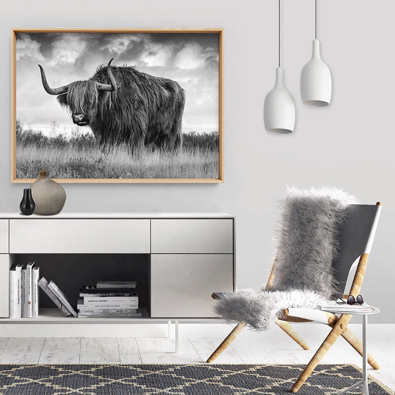 Highland Cow Landscape III B&W - Art Print, Stretched Canvas or Framed Canvas Wall Art, Shown framed in a room mockup
