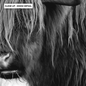 Highland Cow Landscape III B&W - Art Print, Stretched Canvas or Framed Canvas Wall Art, Close up View of Print Resolution