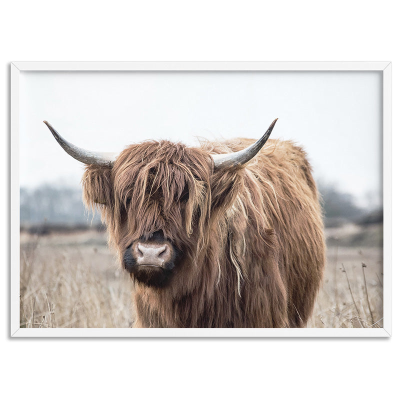 Highland Cow Landscape I - Art Print, Stretched Canvas, or Framed Canvas Wall Art