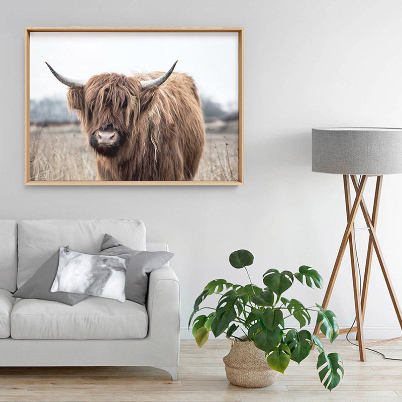 Load image into Gallery viewer, Highland Cow Landscape I - Art Print, Stretched Canvas or Framed Canvas Wall Art, Shown inside a frame