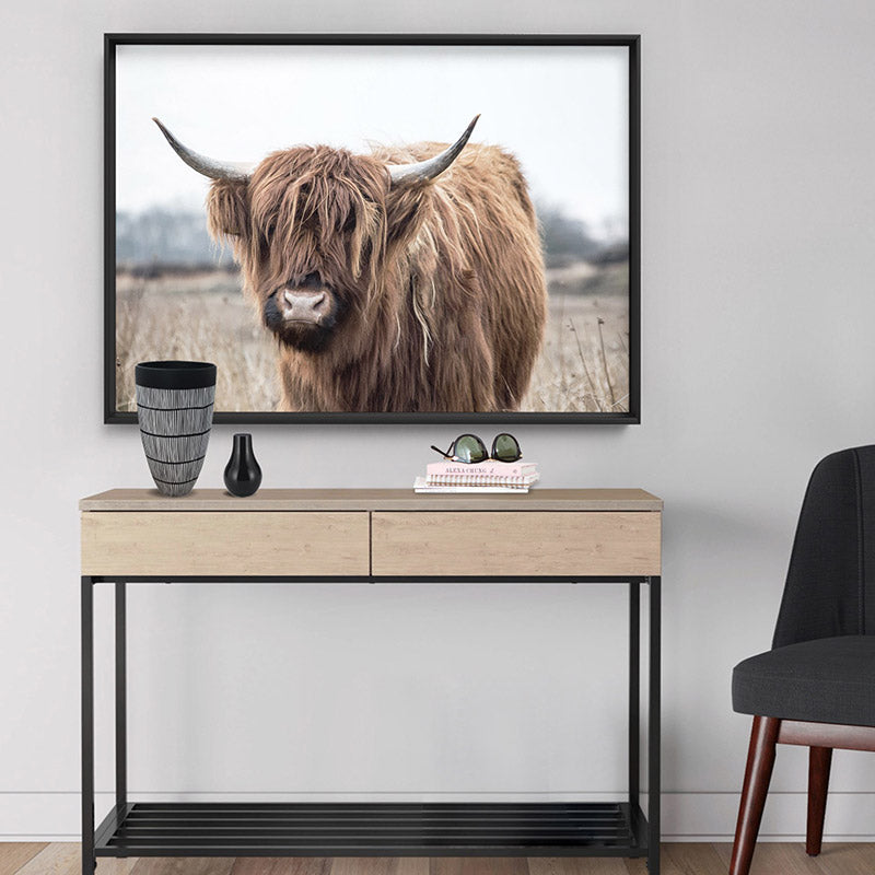 Highland Cow Landscape I - Art Print, Stretched Canvas or Framed Canvas Wall Art, Shown framed in a room mockup