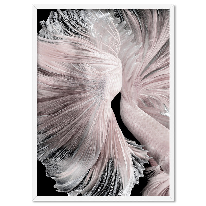 Load image into Gallery viewer, Betta Pair in Pale Pink & Black II - Art Print, Stretched Canvas, or Framed Canvas Wall Art