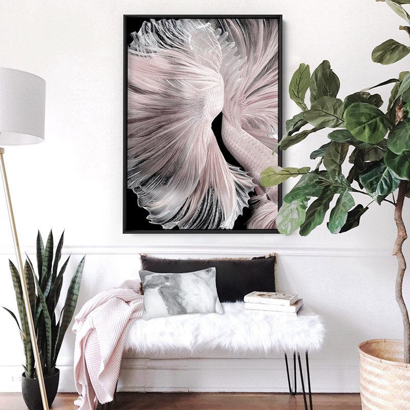 Betta Pair in Pale Pink & Black II - Art Print, Stretched Canvas or Framed Canvas Wall Art, Shown inside a frame