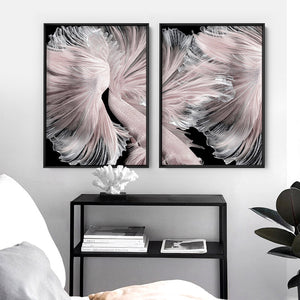 Load image into Gallery viewer, Betta Pair in Pale Pink & Black II - Art Print, Stretched Canvas or Framed Canvas Wall Art, Shown framed in a room mockup