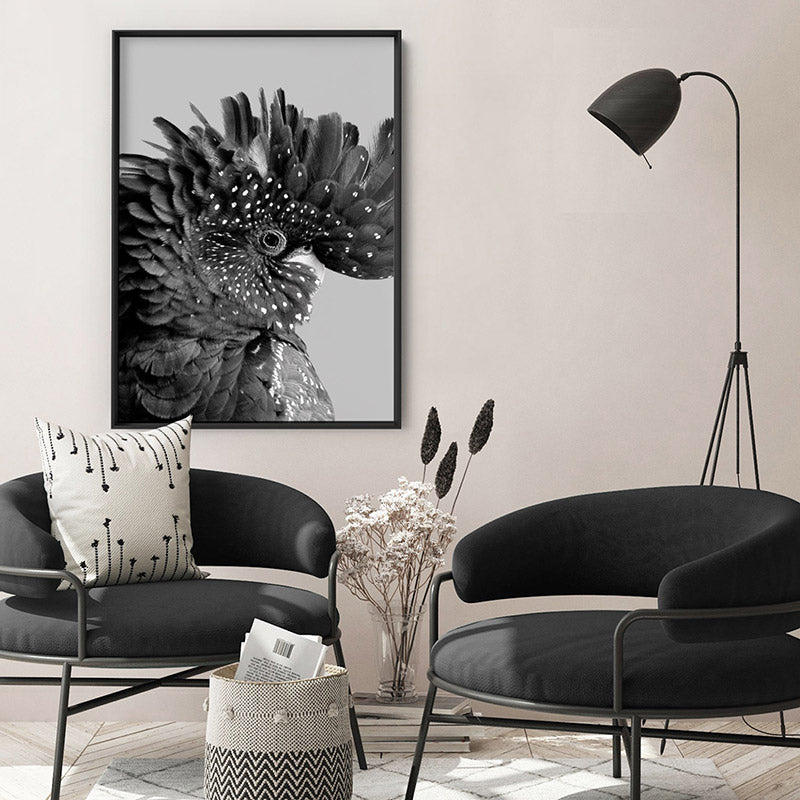 Black Cockatoo Pose in Black & White - Art Print, Stretched Canvas or Framed Canvas Wall Art, Shown inside a frame