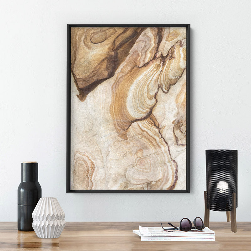 Sandstone Rock / The Cutaway Barangaroo  - Art Print, Stretched Canvas or Framed Canvas Wall Art, Shown inside a frame