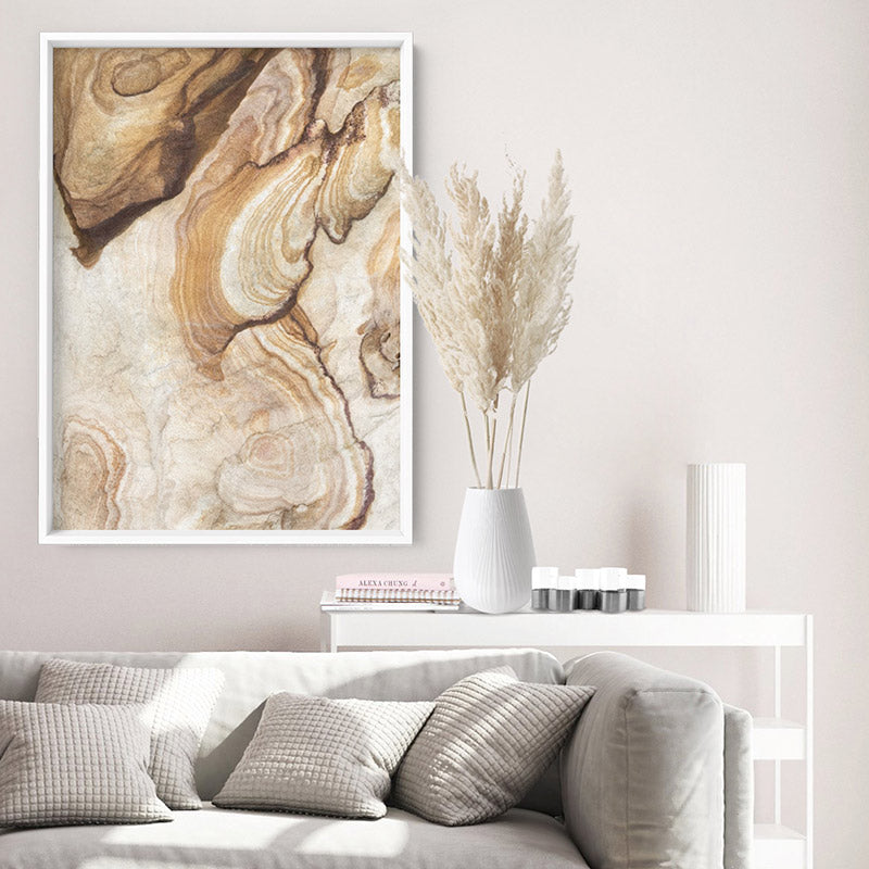 Sandstone Rock / The Cutaway Barangaroo  - Art Print, Stretched Canvas or Framed Canvas Wall Art, Shown framed in a room mockup
