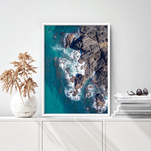 Rocky Coast from Above I  - Art Print, Stretched Canvas or Framed Canvas Wall Art, Shown inside a frame
