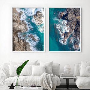 Rocky Coast from Above I  - Art Print, Stretched Canvas or Framed Canvas Wall Art, Shown framed in a room mockup