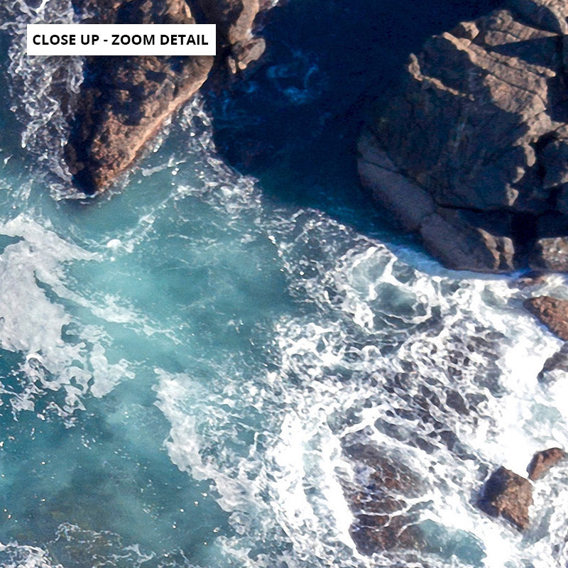 Rocky Coast from Above I  - Art Print, Stretched Canvas or Framed Canvas Wall Art, Close up View of Print Resolution
