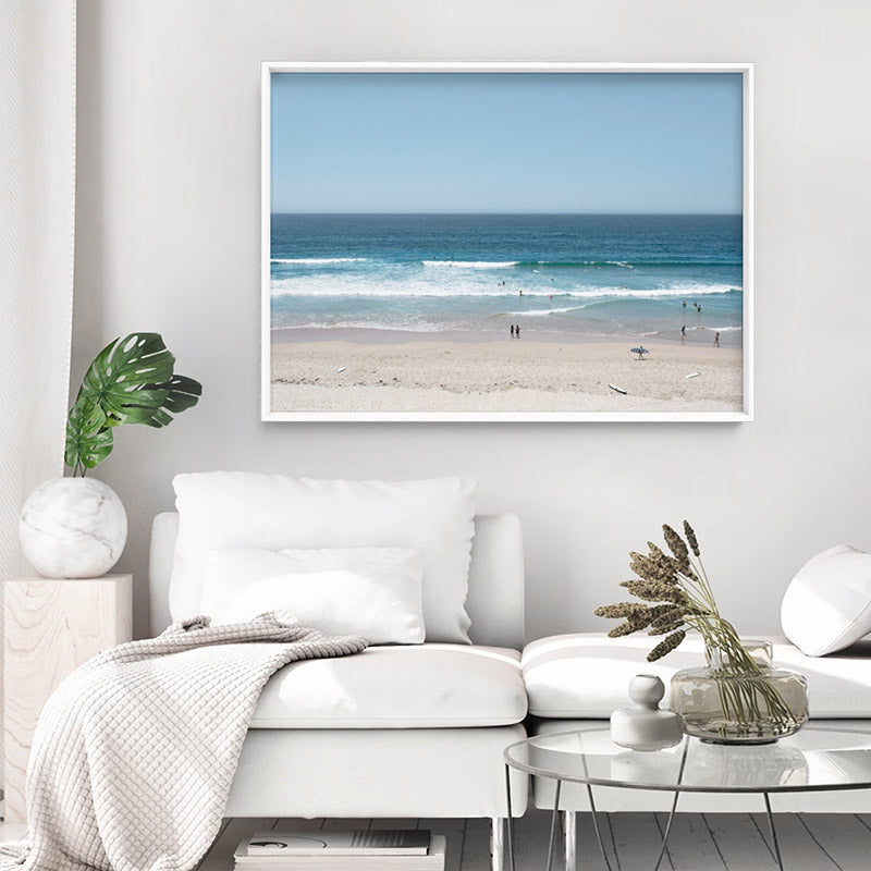 Cronulla Beach Horizon I - Art Print, Stretched Canvas or Framed Canvas Wall Art, Shown inside a frame