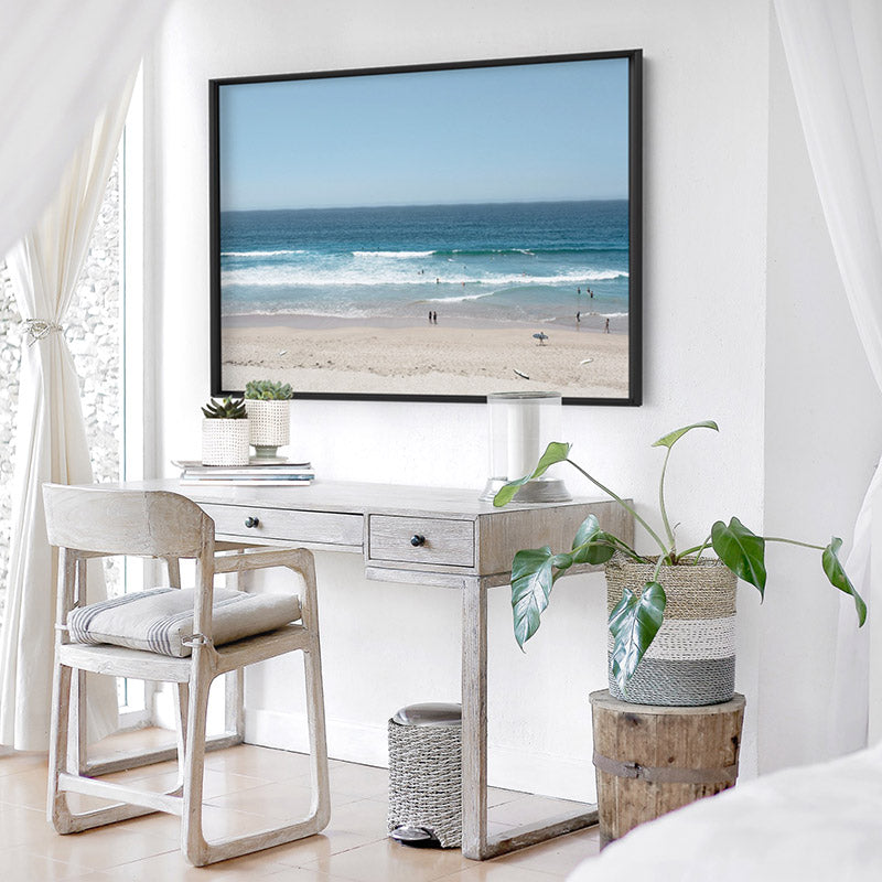 Cronulla Beach Horizon I - Art Print, Stretched Canvas or Framed Canvas Wall Art, Shown framed in a room mockup