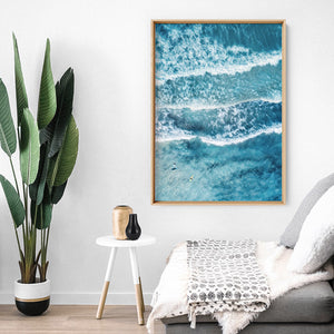 Aerial Ocean Waves & Tiny Surfers II - Art Print, Stretched Canvas or Framed Canvas Wall Art, Shown inside a frame