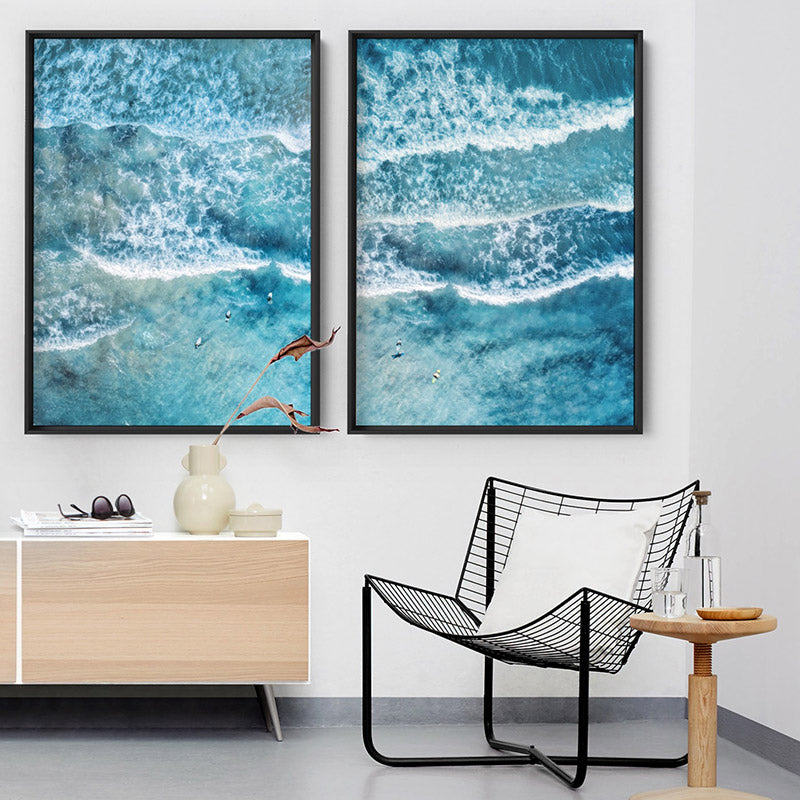 Aerial Ocean Waves & Tiny Surfers II - Art Print, Stretched Canvas or Framed Canvas Wall Art, Shown framed in a room mockup