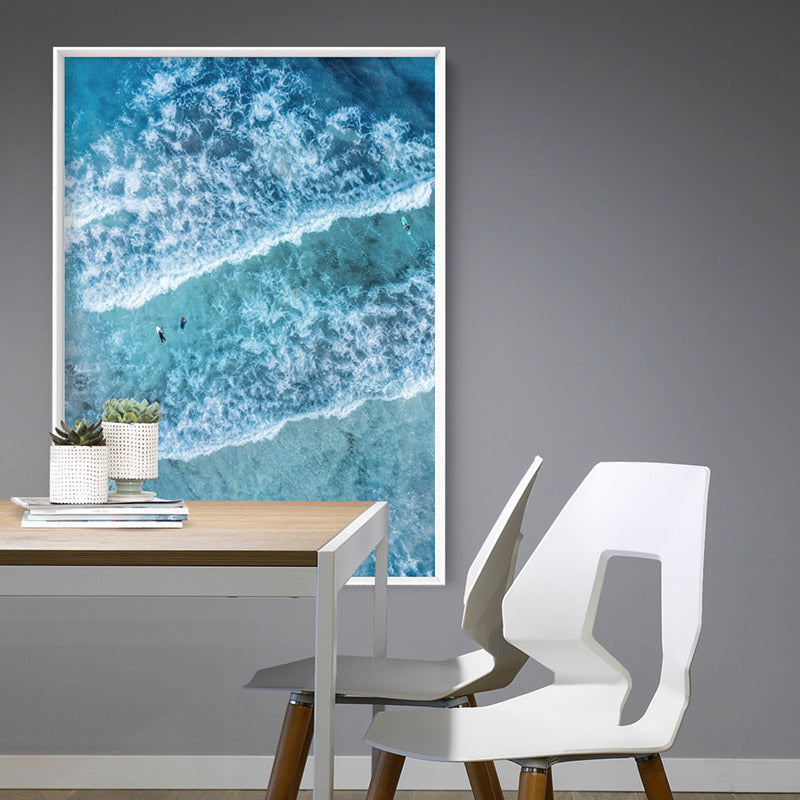 Aerial Ocean Waves & Tiny Surfers III - Art Print, Stretched Canvas or Framed Canvas Wall Art, Shown inside a frame