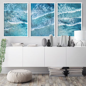 Aerial Ocean Waves & Tiny Surfers III - Art Print, Stretched Canvas or Framed Canvas Wall Art, Shown framed in a room mockup