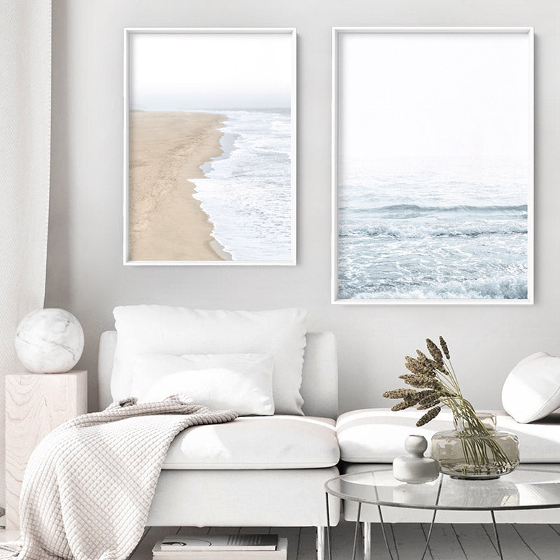 Clear Water Ocean Pastels - Art Print, Stretched Canvas or Framed Canvas Wall Art, Shown framed in a room mockup