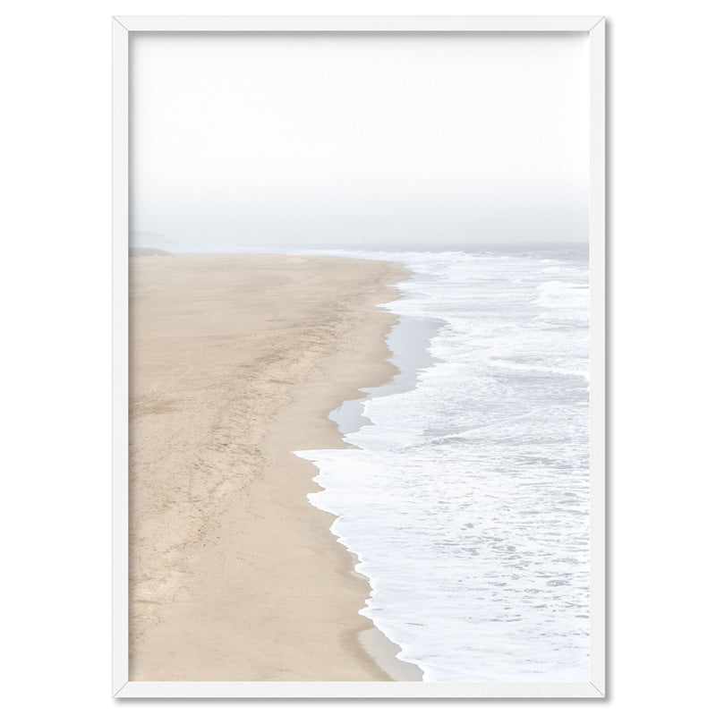 Sandy Beach & Ocean Waves in Pastels - Art Print