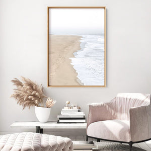 Sandy Beach & Ocean Waves in Pastels - Art Print, Stretched Canvas or Framed Canvas Wall Art, Shown inside a frame