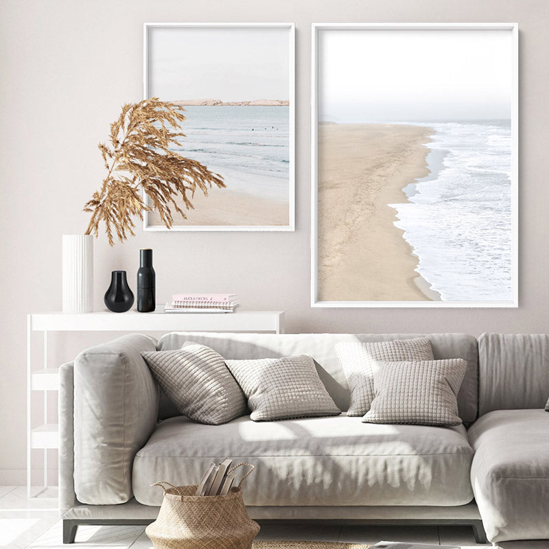 Sandy Beach & Ocean Waves in Pastels - Art Print, Stretched Canvas or Framed Canvas Wall Art, Shown framed in a room mockup