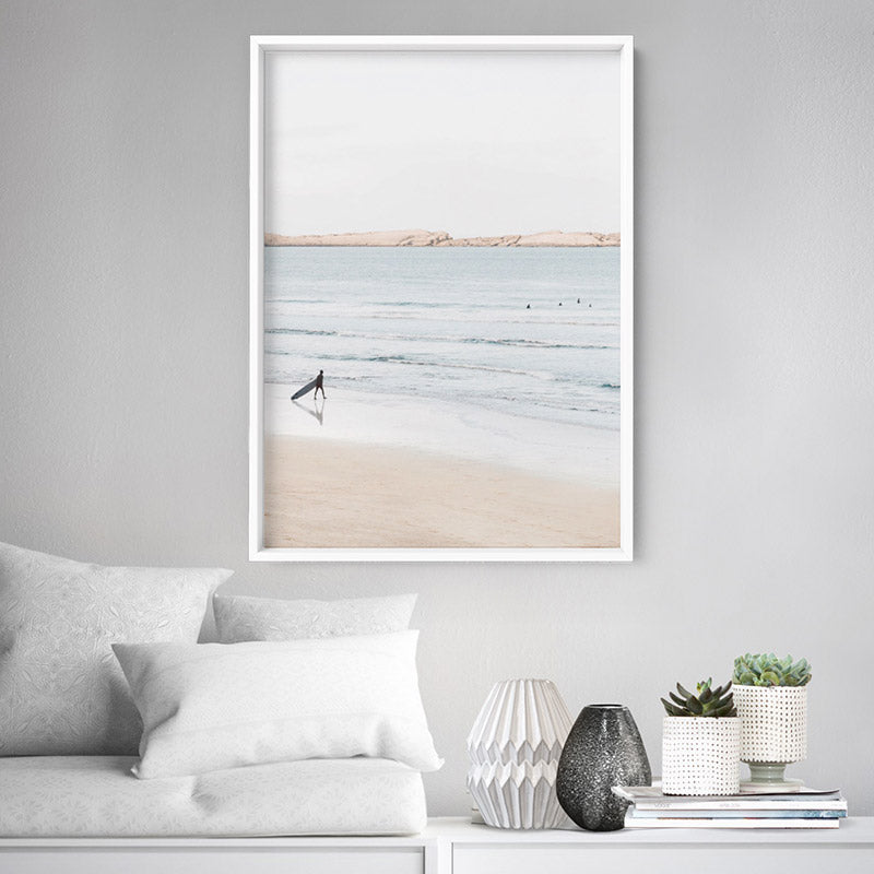 Sandy Beach, Surfer & Ocean Waves in Pastels - Art Print, Stretched Canvas or Framed Canvas Wall Art, Shown inside a frame