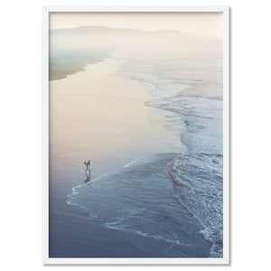 Surfer Walking to Ocean Waves - Art Print, Stretched Canvas, or Framed Canvas Wall Art