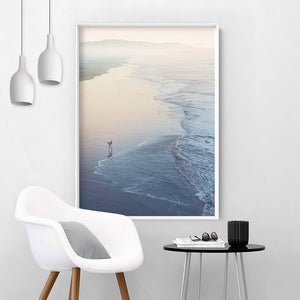 Surfer Walking to Ocean Waves - Art Print, Stretched Canvas or Framed Canvas Wall Art, Shown inside a frame