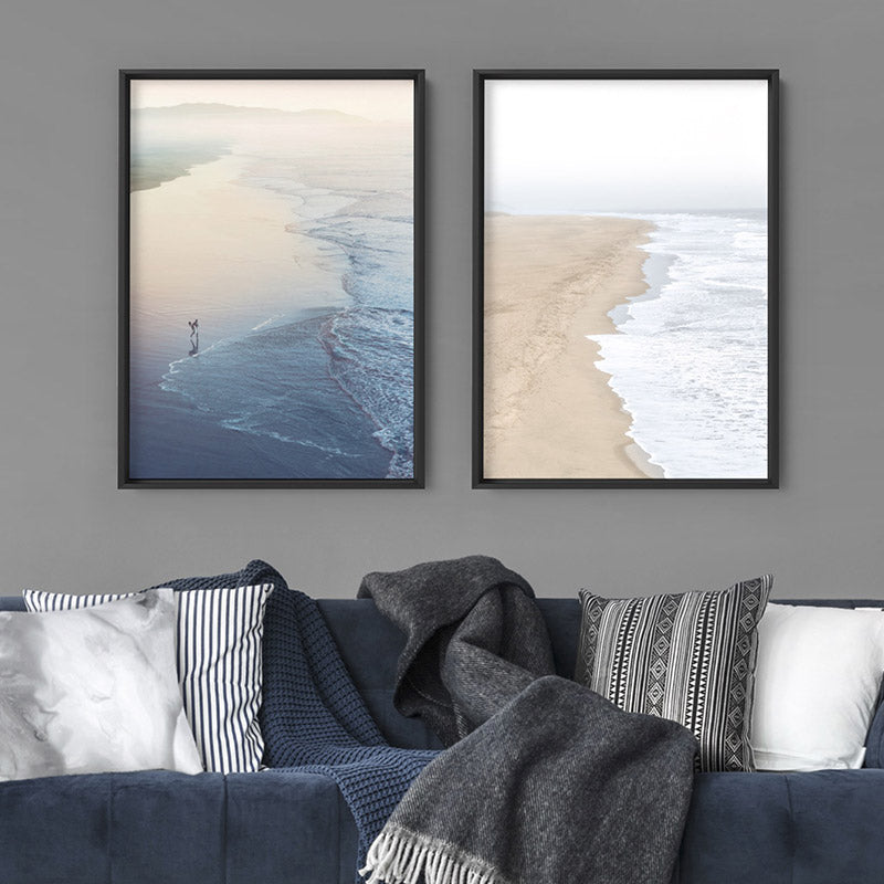 Surfer Walking to Ocean Waves - Art Print, Stretched Canvas or Framed Canvas Wall Art, Shown framed in a room mockup