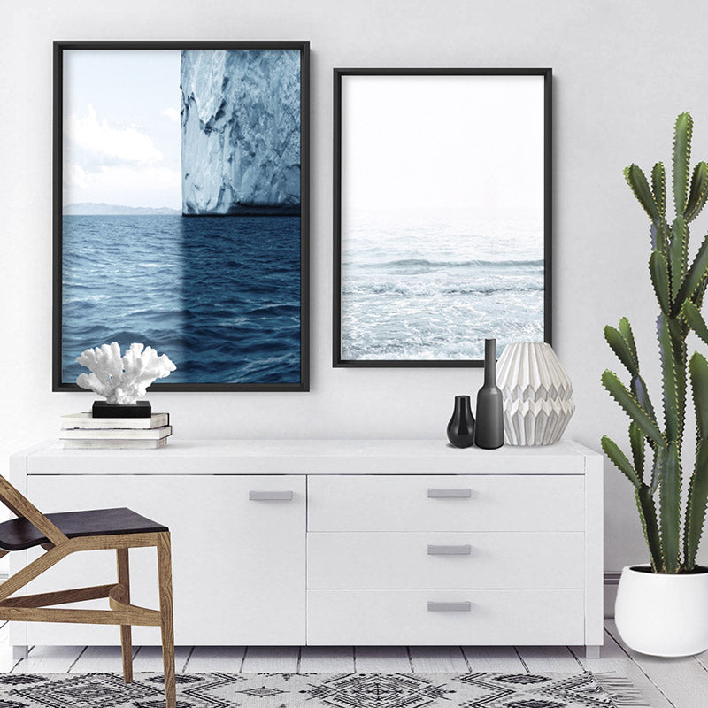Sea, Ocean, Sky & Glacier - Art Print, Stretched Canvas, or Framed Canvas Wall Art