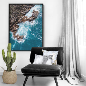 Rocky Coast from Above III  - Art Print, Stretched Canvas or Framed Canvas Wall Art, Shown inside a frame