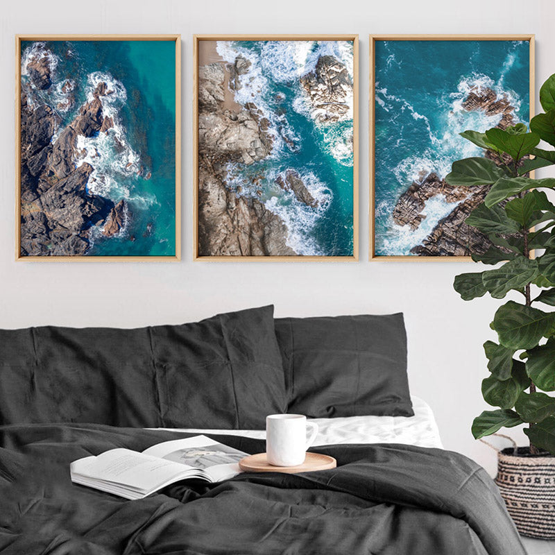 Rocky Coast from Above III  - Art Print, Stretched Canvas or Framed Canvas Wall Art, Shown framed in a room mockup