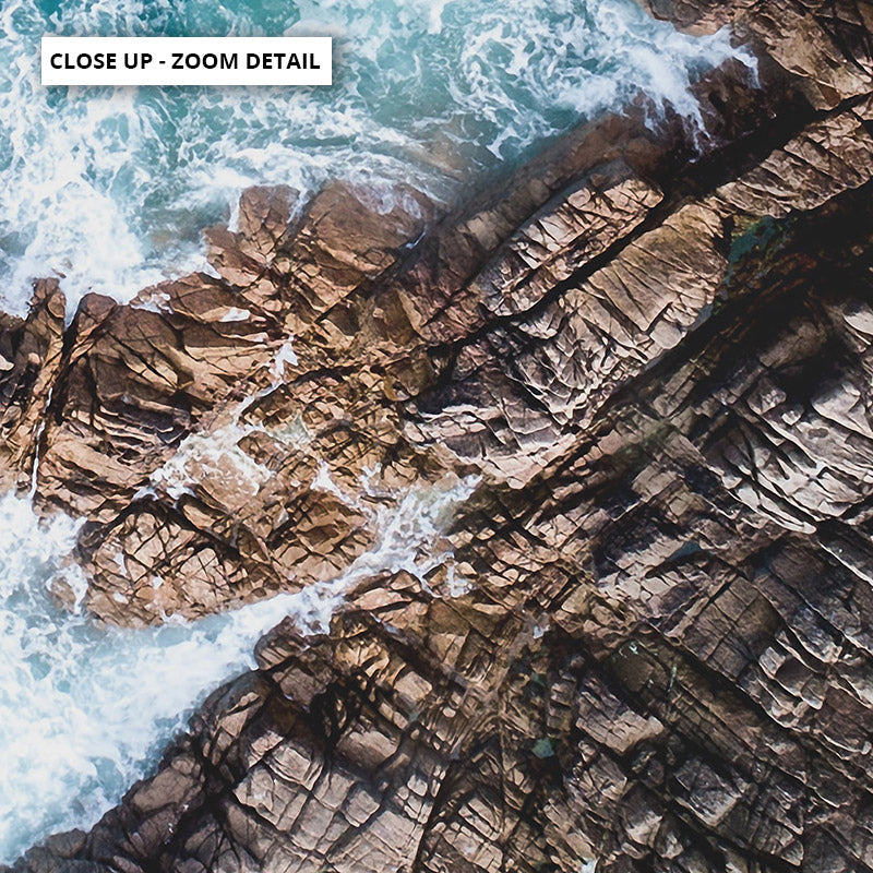 Rocky Coast from Above III  - Art Print, Stretched Canvas or Framed Canvas Wall Art, Close up View of Print Resolution