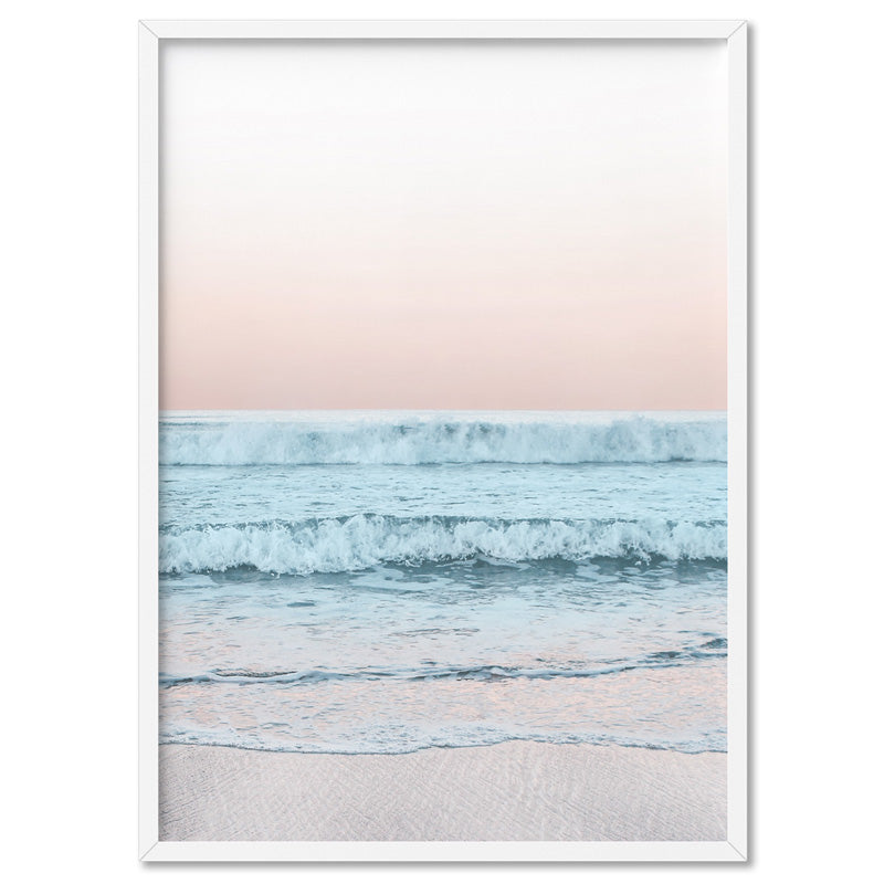 Beach View at Dusk, in Pastels  - Art Print, Stretched Canvas, or Framed Canvas Wall Art