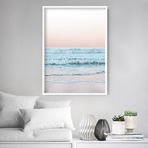 Beach View at Dusk, in Pastels  - Art Print, Stretched Canvas or Framed Canvas Wall Art, Shown inside a frame