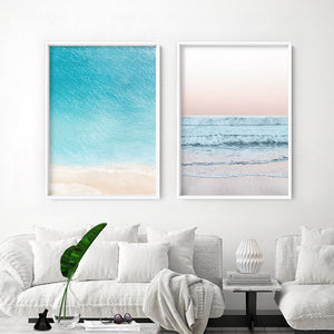 Beach View at Dusk, in Pastels  - Art Print, Stretched Canvas or Framed Canvas Wall Art, Shown framed in a room mockup