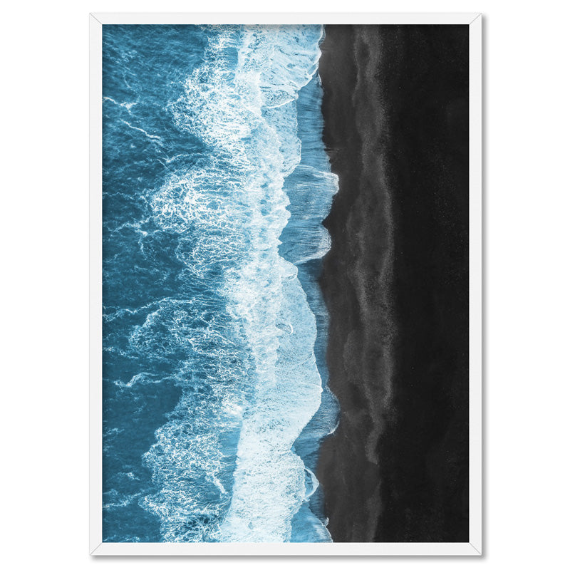 Waves Crashing into Black Sand Beach - Art Print, Stretched Canvas, or Framed Canvas Wall Art