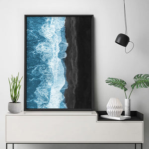 Waves Crashing into Black Sand Beach - Art Print, Stretched Canvas or Framed Canvas Wall Art, Shown inside a frame