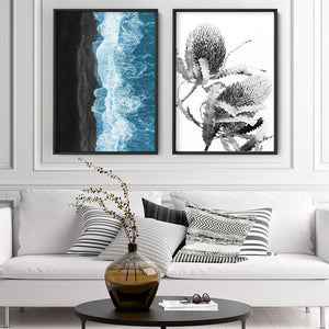 Waves Crashing into Black Sand Beach - Art Print, Stretched Canvas or Framed Canvas Wall Art, Shown framed in a room mockup