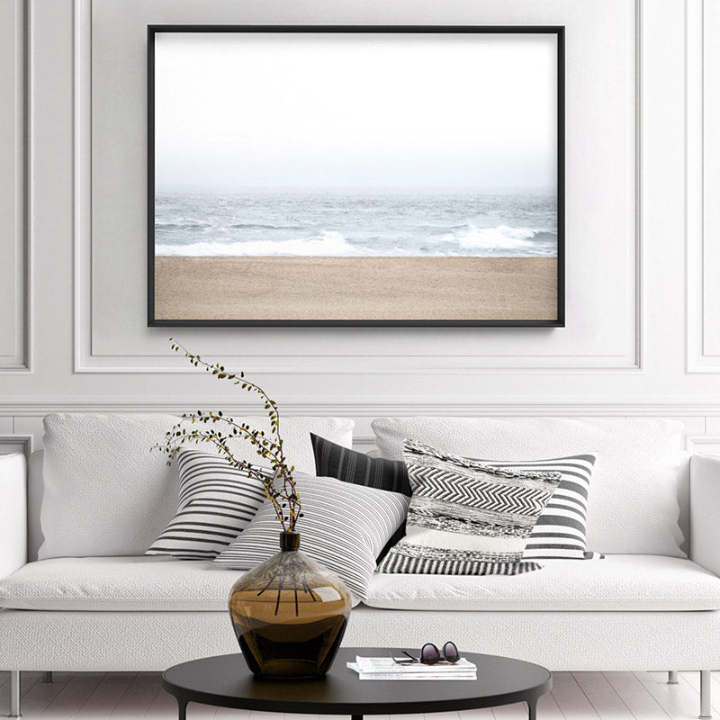 Sandy Beach & Ocean Waves in Pastels, Landscape- Art Print, Stretched Canvas, or Framed Canvas Wall Art