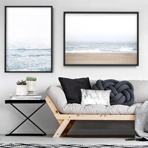 Sandy Beach & Ocean Waves in Pastels, Landscape- Art Print, Stretched Canvas or Framed Canvas Wall Art, Shown framed in a room mockup