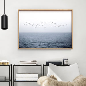 Flock of Birds on Ocean Horizon - Art Print, Stretched Canvas or Framed Canvas Wall Art, Shown inside a frame