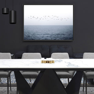 Flock of Birds on Ocean Horizon - Art Print, Stretched Canvas or Framed Canvas Wall Art, Shown framed in a room mockup