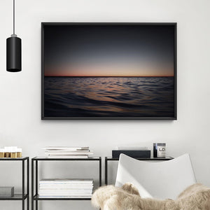 Ocean Horizon View at Dark Dusk - Art Print, Stretched Canvas or Framed Canvas Wall Art, Shown inside a frame