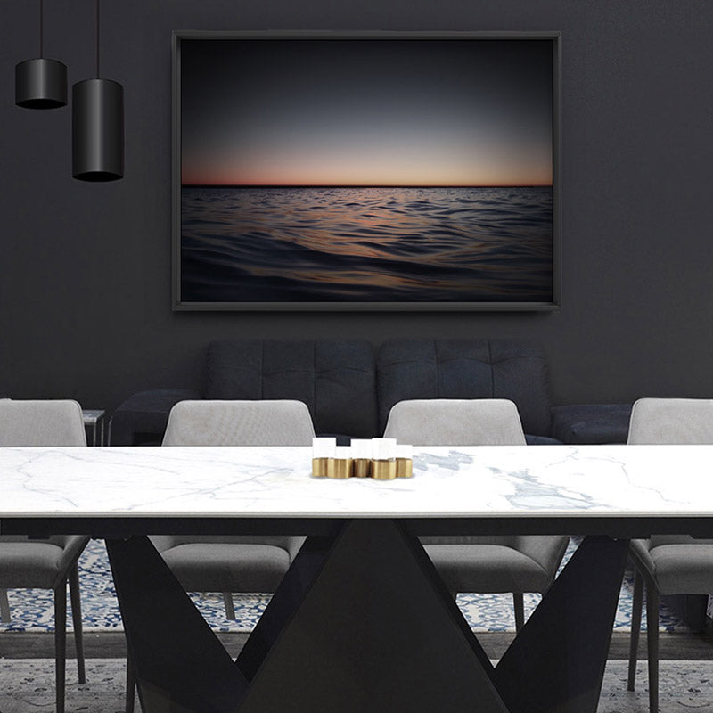 Ocean Horizon View at Dark Dusk - Art Print, Stretched Canvas or Framed Canvas Wall Art, Shown framed in a room mockup