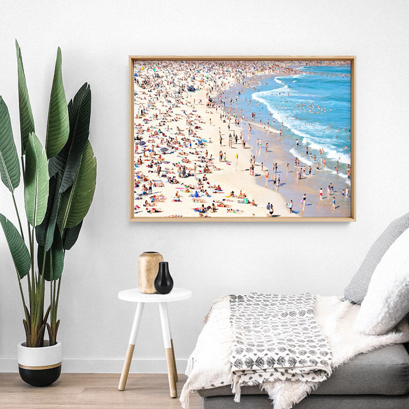 Load image into Gallery viewer, Iconic Bondi Beach in Summer - Art Print, Stretched Canvas or Framed Canvas Wall Art, Shown inside a frame