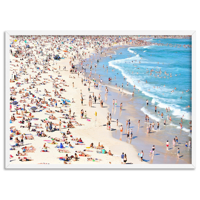 Iconic Bondi Beach in Summer - Art Print, Stretched Canvas, or Framed Canvas Wall Art
