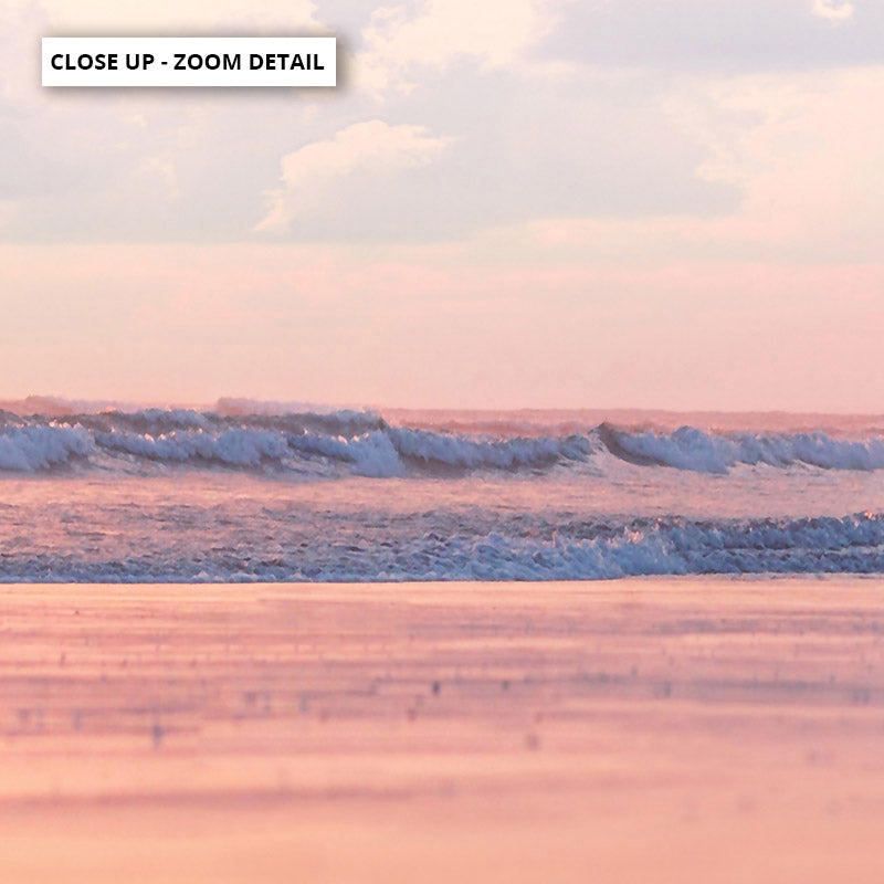 Pastel Candy Beach Horizon - Art Print, Stretched Canvas or Framed Canvas Wall Art, Close up View of Print Resolution