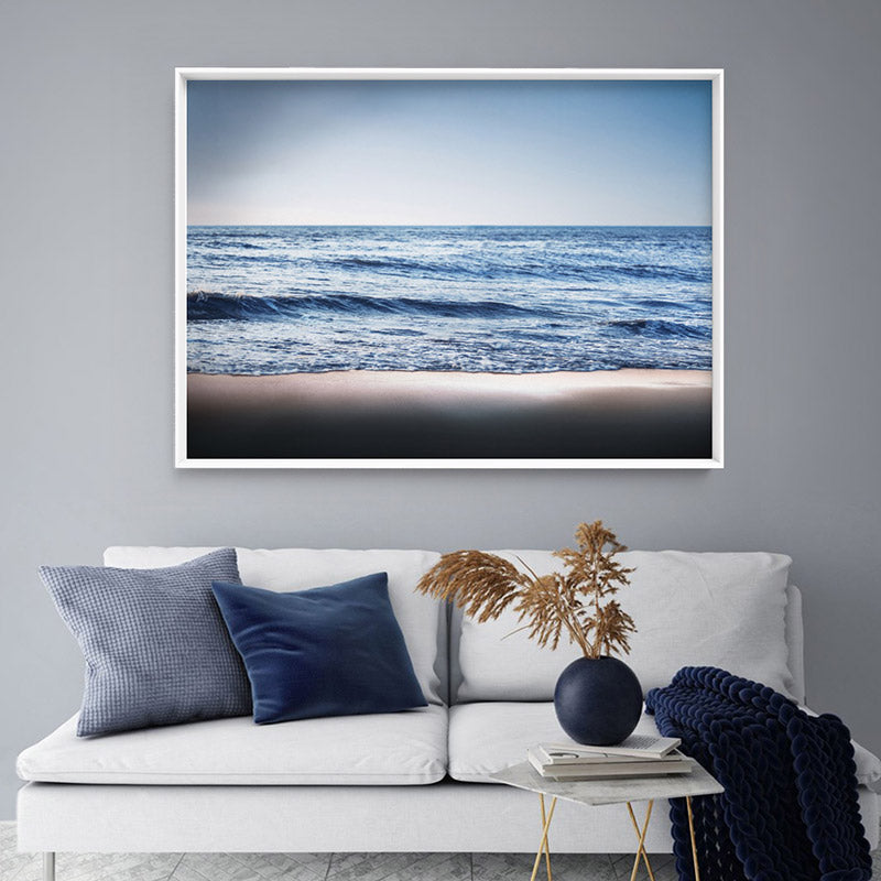 Ocean Vibrance in Blues - Art Print, Stretched Canvas or Framed Canvas Wall Art, Shown inside a frame